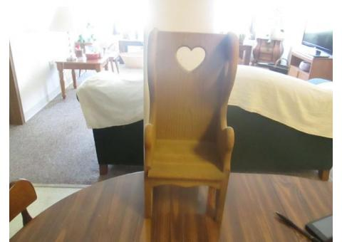 Decorative Wooden Chair with cut out hearts