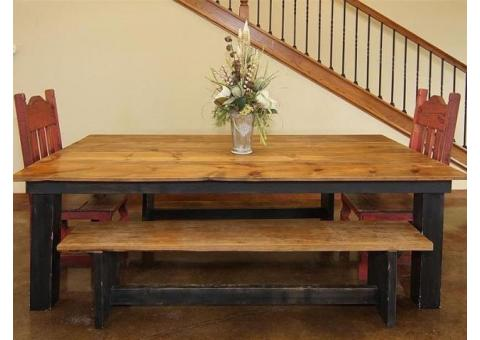 7 ft Farm Table with Benches & Chairs